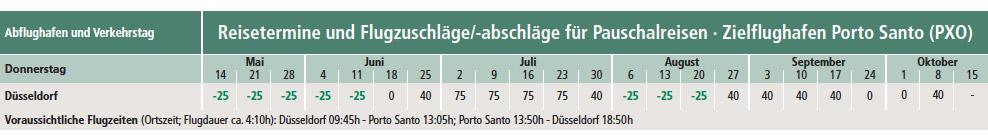 PortoSanto-Abflugzeiten